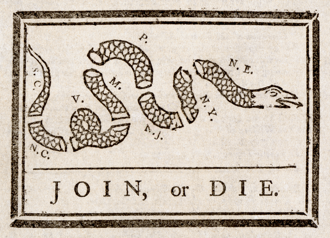 Join or Die cartoon from American Revolution era