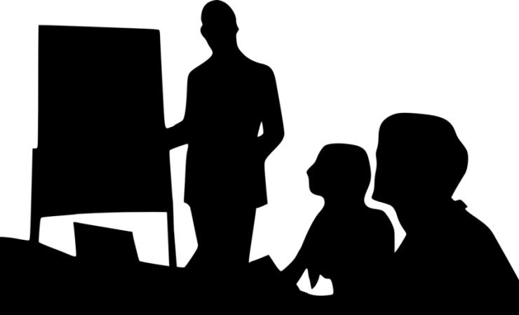 Silhouette of in-person meeting