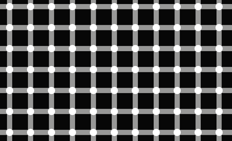 Optical illusion involving nodes and squares