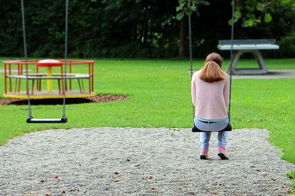 Lonely person on swings