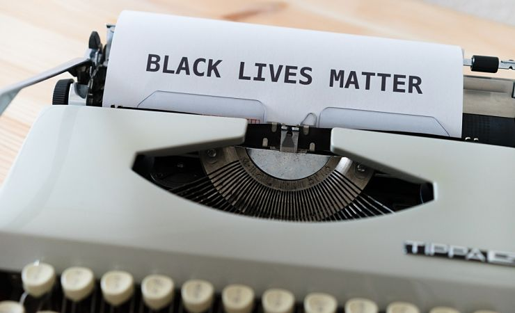 Black Lives Matter typed out on typewriter