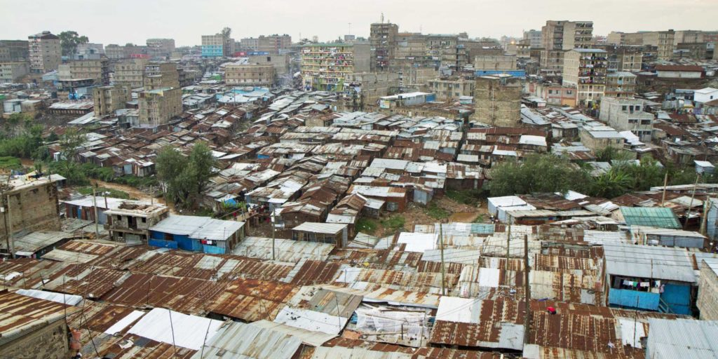 Aerial view of slum