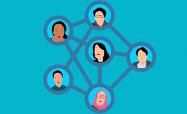 Graphic connecting faces in social network